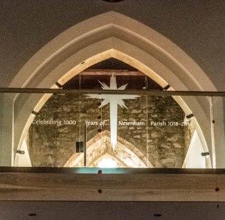 11. St Peter's Newnham - Inscription on the glass panel